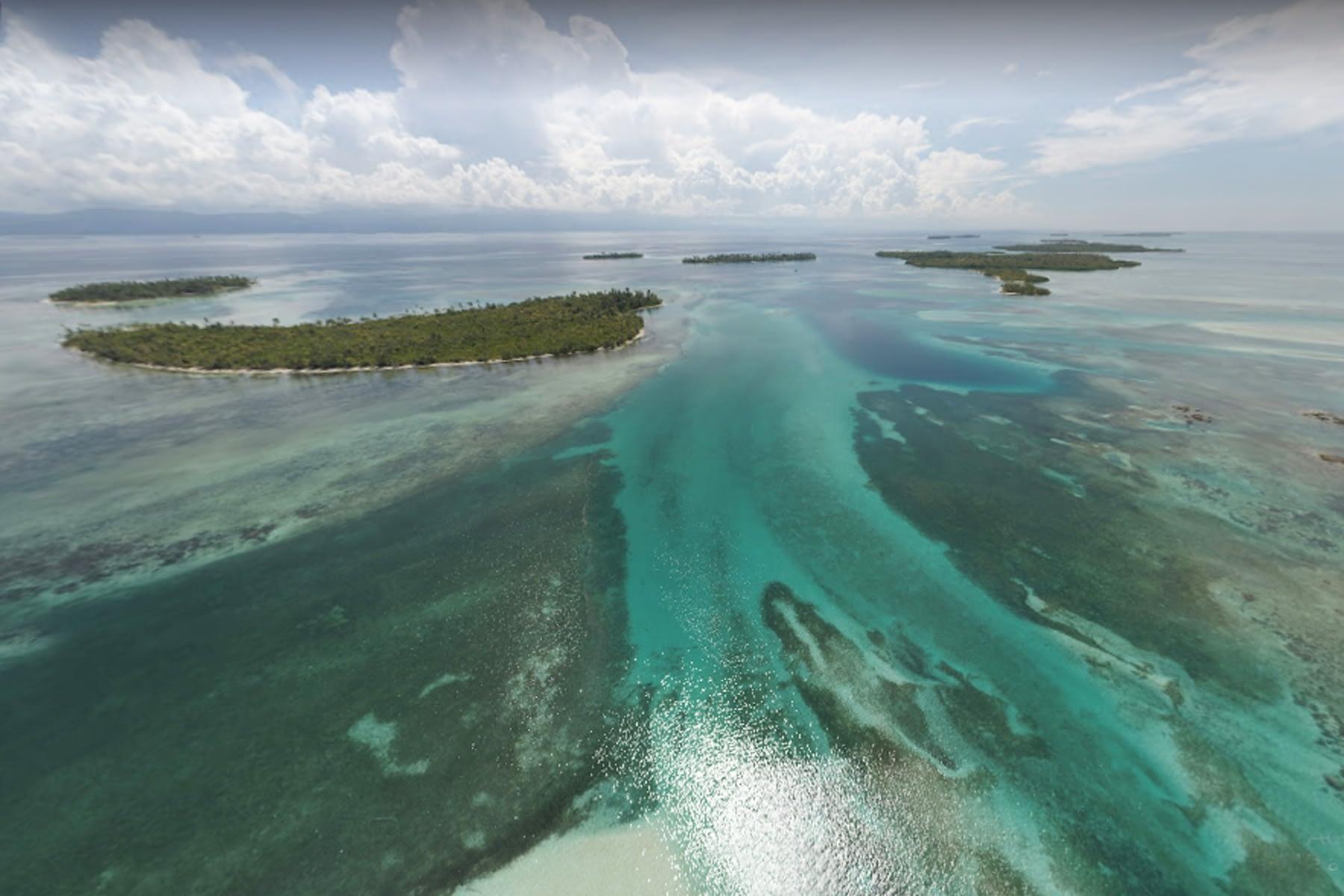 Vista aérea de varias de las islas en Gaimaudubgan